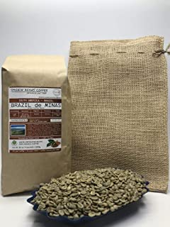 5 Pounds – South American – Brazilian – Unroasted Arabica Green Coffee Beans – Grown In Region Chapada – Altitude 2400 Feet – Catuai, Vermelho – Drying/Milling Process Is Natural - Includes Burlap Bag