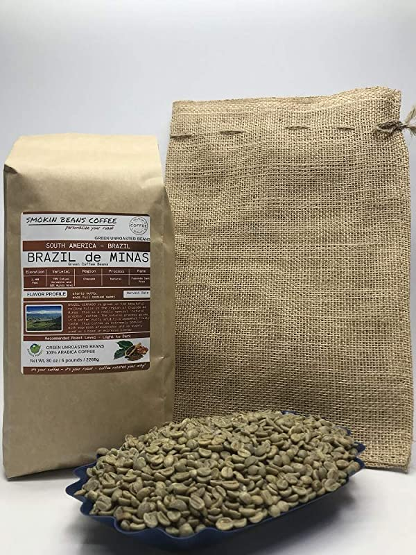5 Pounds South American Brazilian Unroasted Arabica Green Coffee Beans Grown In Region Chapada Altitude 2400 Feet Catuai Vermelho Drying Milling Process Is Natural Includes Burlap Bag