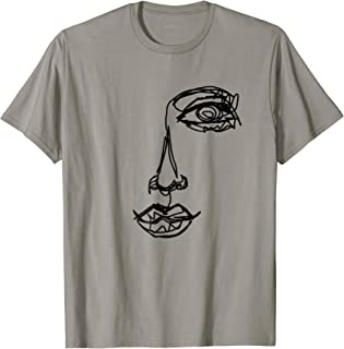 Abstract One Line Drawing Portrait T-Shirt Illustration Tee