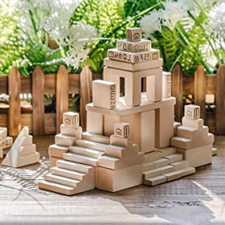 Solid Wooden building blocks for toddlers - kids blocks to spark creativity, imagination. 130 building blocks each wood block is made out natural Linden with hands. Invest in your children age 3-7