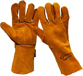 SAFE HANDLER Reinforced Welding Gloves Leather for Extra Dexterity, Double Palm Reinforcement, Heat Resistant for Ovens, BBQ, Grill, Fireplace, Furnace, Stove, Welder, Animal Handling, 1 Pair