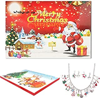 STARTONECO Christmas Advent Calendar Charm Bracelet Necklace DIY 22 Charms Set Fashion Jewelry Advent Calendars Countdown for Girls/Daughter/Granddaughter Present (Sliver)