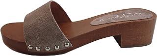 Silfer Shoes Zoccolo Donna Vero Legno - Vera Pelle di camoscio, Colore Beige -Moreno - Ideale Anche per Stare in casa
