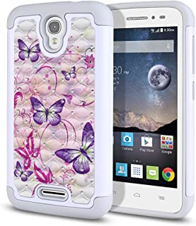 FINCIBO Case Compatible with Alcatel OneTouch POP Astro 5042N 5042T, Dual Layer Shock Proof Hybrid Protector Case Cover TPU Rhinestone Bling For Alcatel OT POP Astro - Purple Butterfly With Pink Swirl