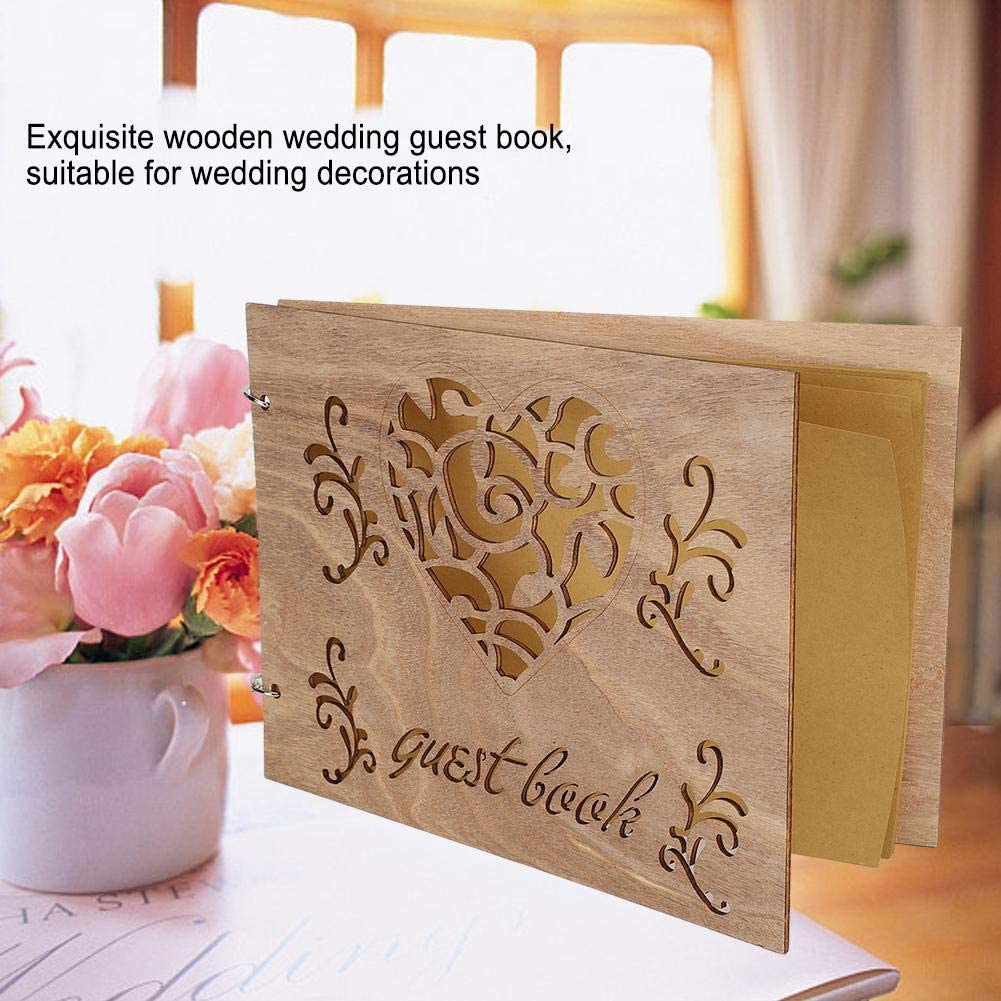 Atyhao Libro degli Ospiti per Matrimonio in Legno Album di messaggi Notebook per Decorazioni di Fidanzamento per Matrimoni Articoli per Feste Decorazioni Libri degli Ospiti #2