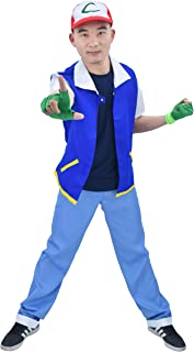US Size Adult Anime Monster Trainer Cosplay Costume with Cap Gloves