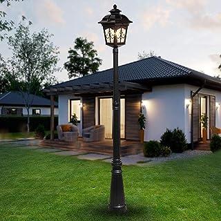 aipipl Lampe à Gazon Classique Vintage pour allée de Jardin, Colonne Lumineuse, Aluminium Antique, métal, Lanterne en Verr...