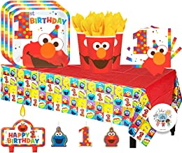 Sesame Street Elmo Turns One Birthday Party Pack for 16 with Plates, Napkins, Cups, Tablecover, and Candles