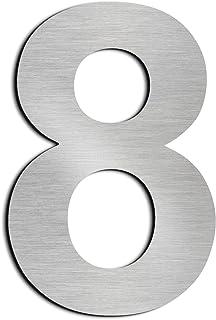 Cepillado número de casa 8 Ocho-15.3 cm 6 in-made de sólido Acero inoxidable 304 flotante apariencia, fácil de instalar