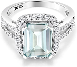925 Sterling Silver Sky Blue Simulated Aquamarine Women's Engagement Ring 3.72 Ct Emerald Cut (Available 5,6,7,8,9)