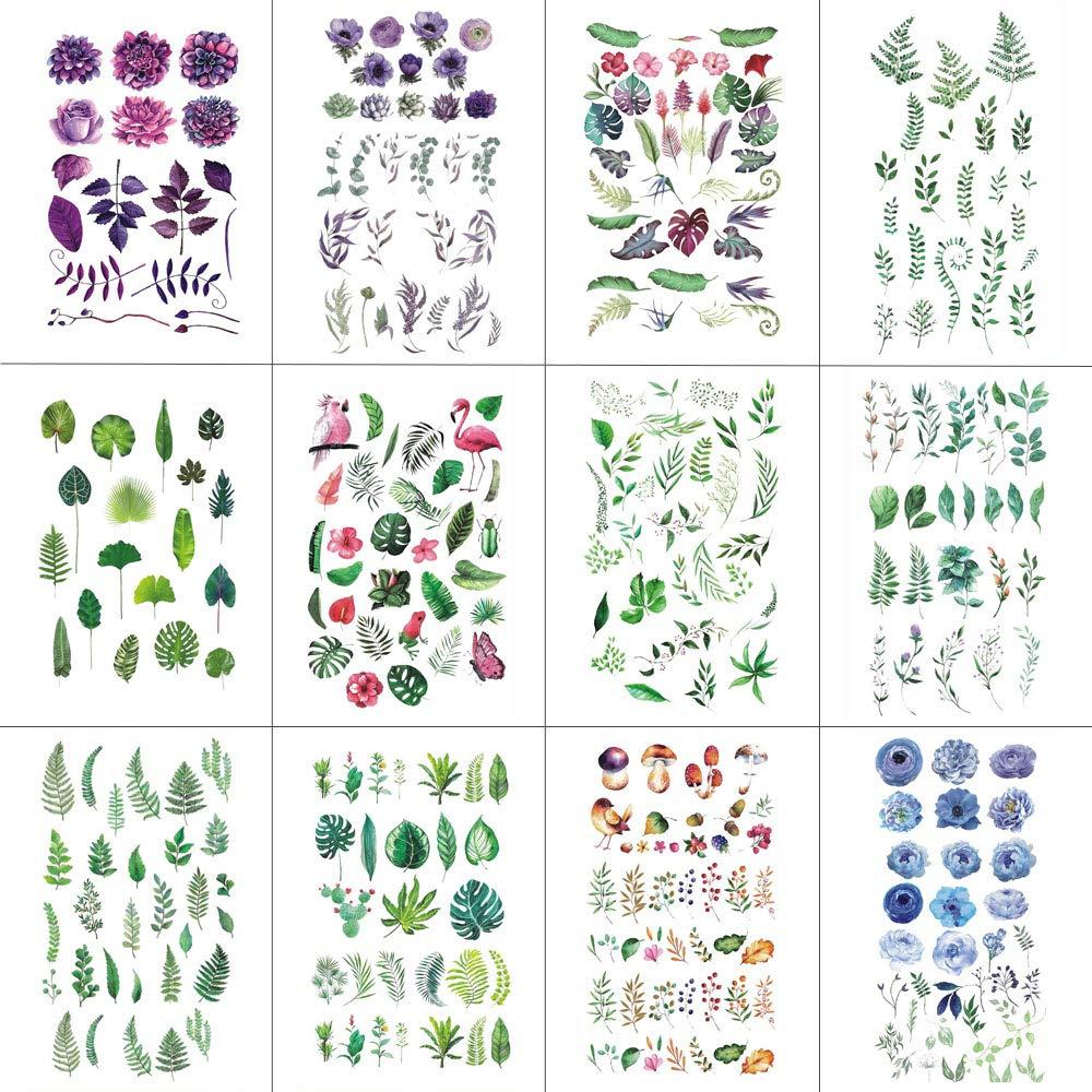 WYUEN 12 PCS lot Flower Temporary for F Women Sticker 5 popular Max 69% OFF Tattoo Men