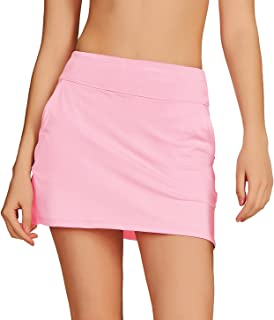 Cityoung Women's Golf Pleated Flat Skort with Pockets