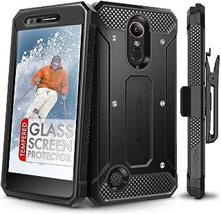 LG K20 Plus Case, Evocel [Explorer Series] with Free [LG K20 Plus Glass Screen Protector] Premium Full Body Case [Slim Profile][Rugged Belt Clip Holster] for LG K20 Plus / K20 V/LG Harmony, Black