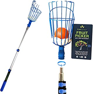 EVERSPROUT 1.5-4.5 Foot Fruit Picker (10+ Foot Reach) | Preassembled, Easy to Attach Twist-On Basket | Lightweight, High-Grade Aluminum Extension Pole | +Bonus Fruit Carrying Bag