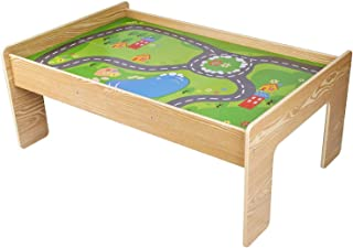 Pidoko Kids Train Table, Natural - Perfect Toy Gift Set for Boys & Girls - Activity Table That is Compatible with All Major Brand Train Sets and Tracks