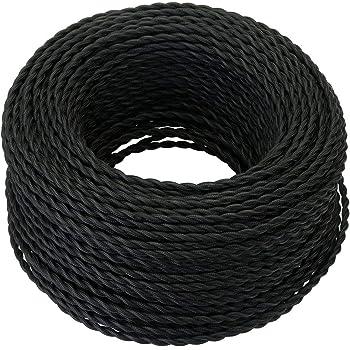 GreenSun LED Lighting Cable textil vintage 5 Meter 2 hilos Negro eléctrico estilo antiguo, cuerda retorcida, trenzada, colgante, para luz o lámpara (2x 0,75mm² )