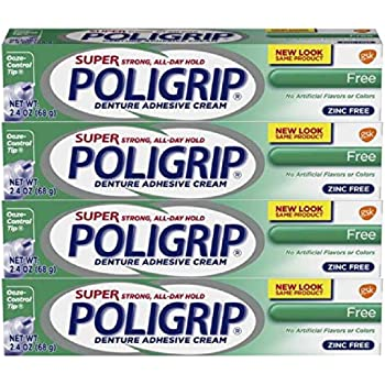 Super Poligrip Original Formula Zinc Free Super Strong Denture Adhesive Cream, 2.4 ounce - Pack of 4