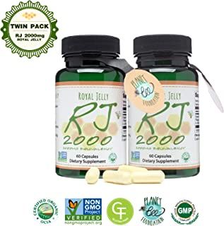 GREENBOW Royal Jelly 2000mg Equivalency – Non GMO Made with Organic Royal Jelly - One of The Most Nutrition Packed Diet Supplements – (Twin Pack_2-60 Vegan Capsules)