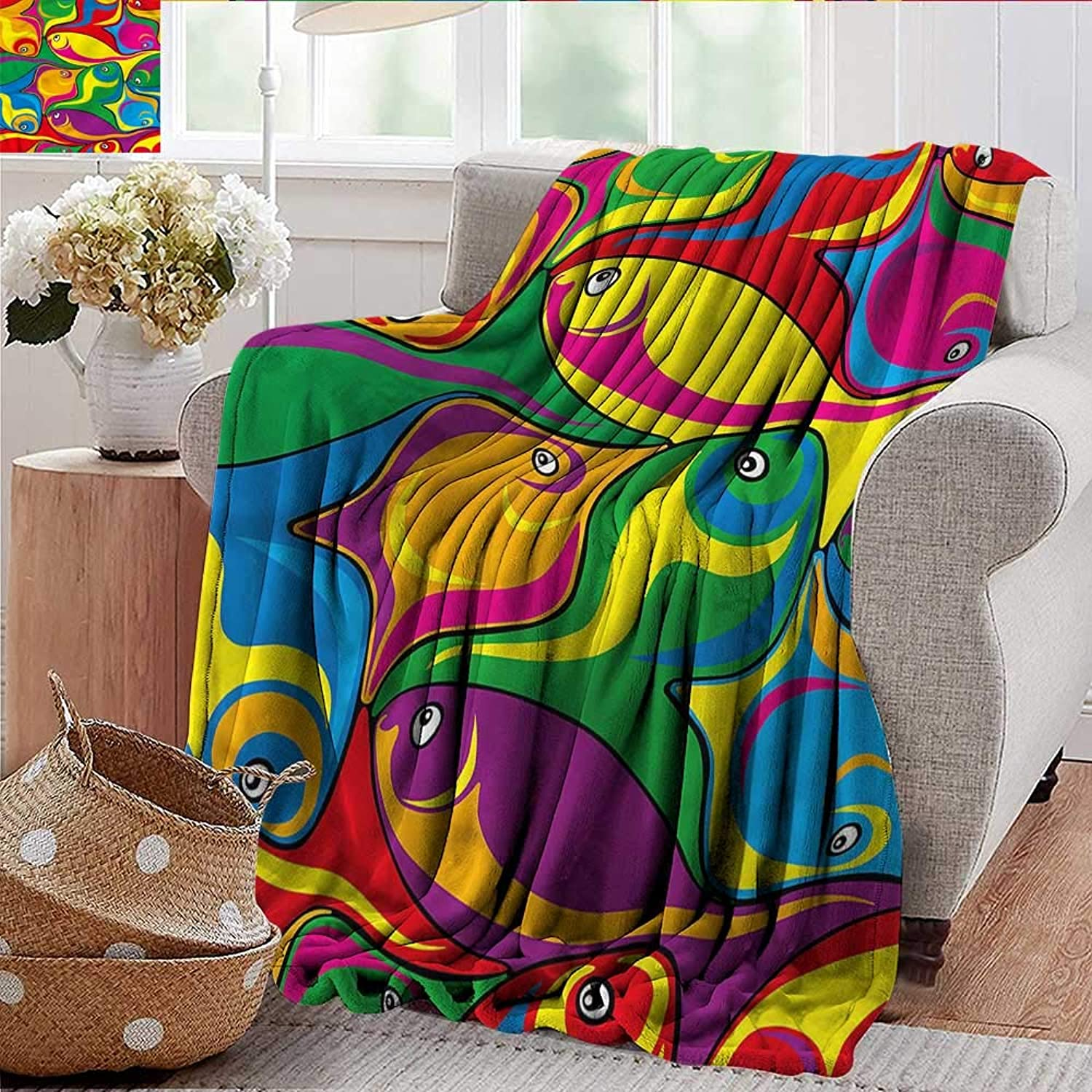 Xaviera Doherty Weighted Blanket for Kids Cartoon,Funky Groovy Fish Abstract Soft Summer Cooling Lightweight Bed Blanket 50 x60