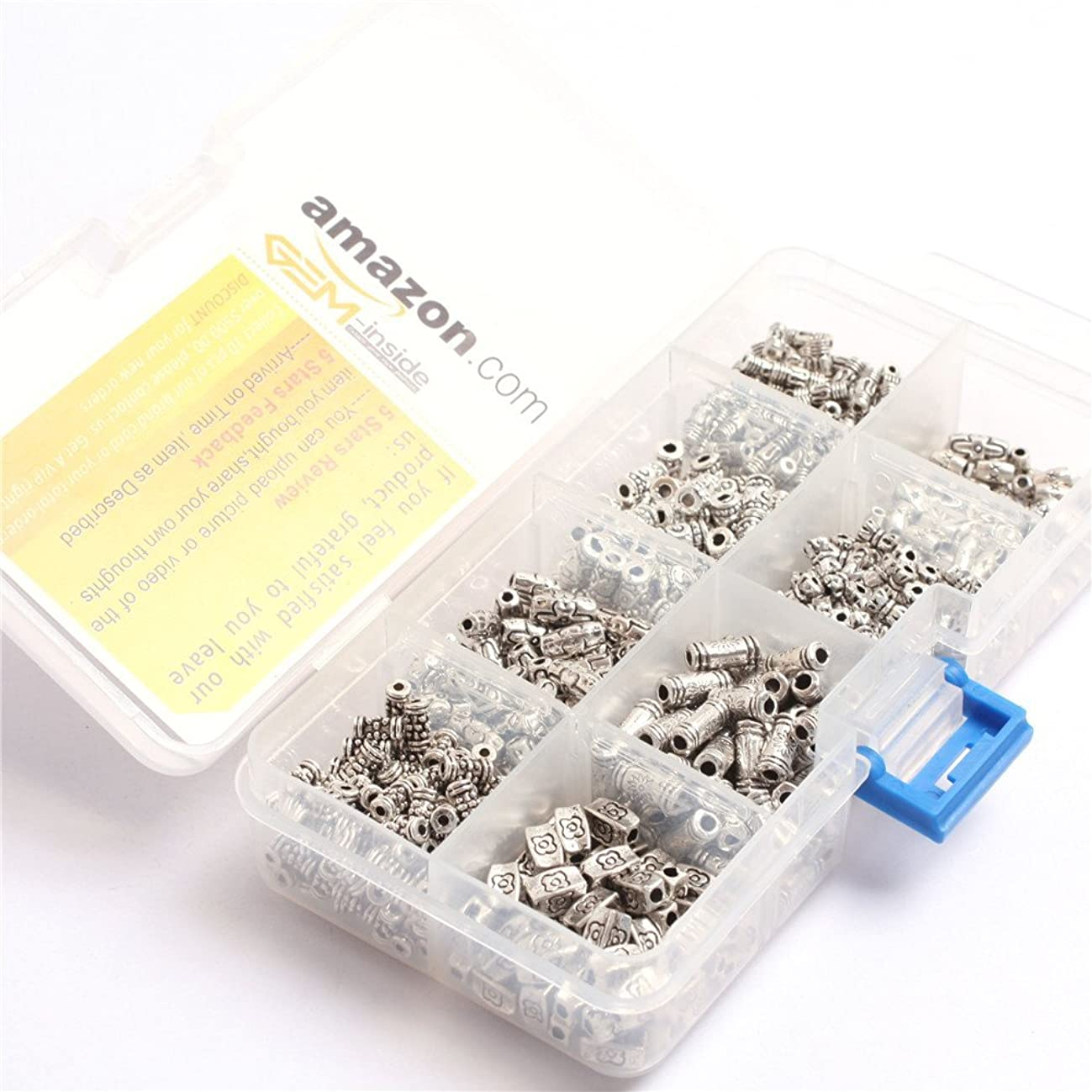 GEM-inside nickel free Small Tube Bali Style Antique Tibetan Silver Findings Jewelry Making DIY Spacer Beads Charms Jewelry Findings Jewelry Making DIY Connectors 600Pcs With Box(Mix)