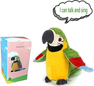 Upgrade Newest Talking Parrot - Repeats What You Say With Cute Voice - Electronic Pet Talking Plush Toy Parrot for Child Kids gift Party Toys
