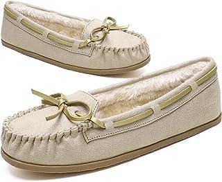 أحذية منزلية للسيدات من KOLILI شباشب بدون كعب مبطنة بالفرو للنساء ذهبي/6 M US