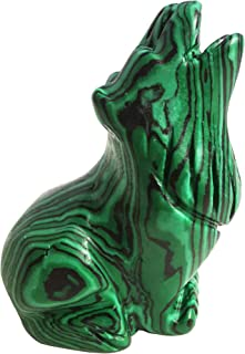Loveliome Synthesis Malachite Wolf Crystal Figurine, Hand Carved Stone Animal Statues for Home Decor 2.5 Inches