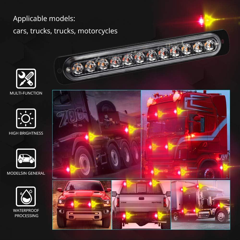 HONLEEX 2pcs Universal Ultra Slim Emergency Hazard Strobe Lights 12-LEDs for Truck Car Motorcycle Caravan Trailer Camper Van,12V-24V,Red//Blue.