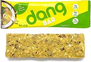 Dang Bar - KETO CERTIFIED, Low Carb, Plant Based, Gluten Free, Real Food Snack Bar, 2-3g Sugar 4-5g Net Carbs, No Sugar Alcohols or Artificial Sweeteners, 12 Count (Lemon Matcha)