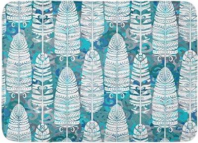 Yilan Alfombras de baño Alfombras de baño Alfombra de Puerta para Exterior/Interior Chic Birds Plumas Tribal Animal Boho Vintage Pattern Abstract Aztec Bathroom Decor Alfombra de baño