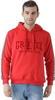 GriffelMen's Front Print Fleece Red Sweatshirt with Hood