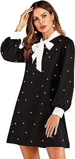 Floerns Women's Peter Pan Collar Halloween Costume Wednesday Addams Costume School Flare Dress