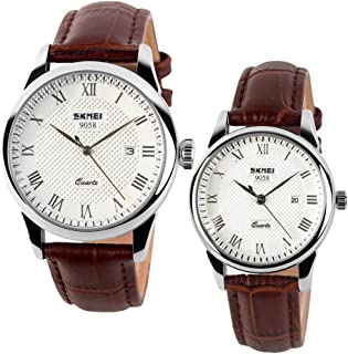 Cool Men's & Women's Brown Genuine Leather Wrist Watches with Date Calendar for Couple (Set of 2)