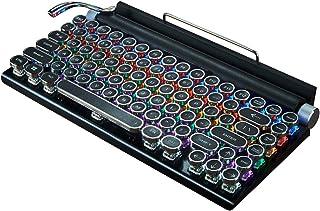 Teclado para máquina de escribir, inalámbrico, Bluetooth RGB, retroiluminación con retroiluminación de color RGB, teclado ...