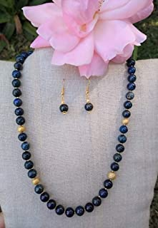 Lapis lazuli. Set of necklace and earrings, Handmade, Semiprecious stones. Made in Mexico