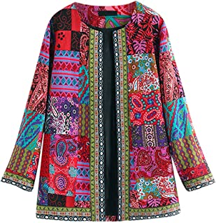 Ethnic Style Vintage Coat, QIQIU Womens Plus Size Floral Print Long Sleeve Loose Open Front Jacket Outwear