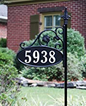 Address America Park Place Oval Reflective 911 Home Address Sign for Yard - Custom Made Address Plaque - Wrought Iron Look Exclusively (58