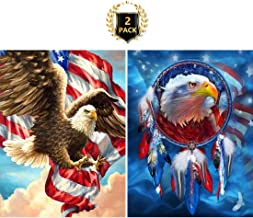 5D DIY Diamond Painting American Flag Eagle & Dreamcatcher Eagle Full Drill by Number Kits for Kids Adults, Yomiie Paint with Diamonds Art Rhinestone Embroidery Decor (12x16inch, 2 Pack)