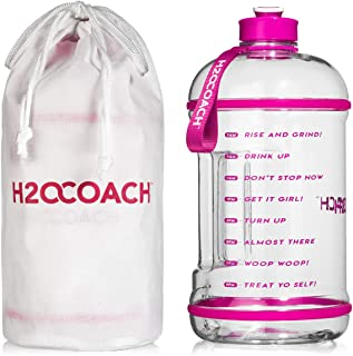 H2OCOACH 1 Gallon Sports Water Bottle with Time Marker | Motivational 3.79 Liters, Reusable BPA Free Jug (128 oz) | Pretty N Pink