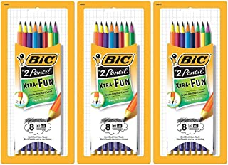 Bic Xtra-Fun Pre-Sharpened Wood-Cased Pencils with Erasers, #2, Assorted Barrel Colors, 24-Count (42853)