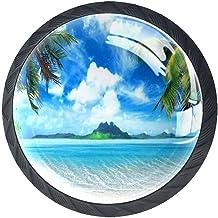 Lade Handgrepen Kast Knoppen Rond Een Pack van 4 Lade Knoppen, Palm Tree Sea Island Green Sky Cloud