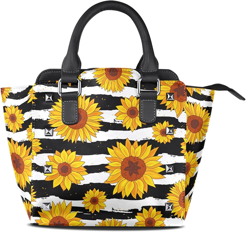 My Little Nest Women's Top Handle Satchel Handbag Sunflowers Black White Striped Ladies PU Leather Shoulder Bag Crossbody Bag