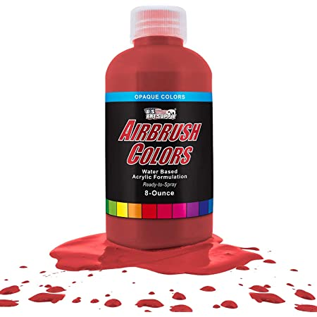 US Art Supply Bright Red Opaque Acrylic Airbrush Paint 8 oz.