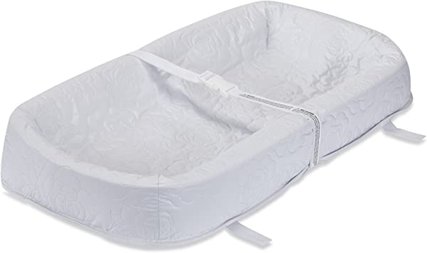 LA Baby Waterproof 4 Sided Cocoon Style Changing Pad 30 Easy To Clean Quilted Cover W Non Skid Bottom Safety Strap Fits All Standard Changing Tables Dresser Tops For Best Infant Diaper Change