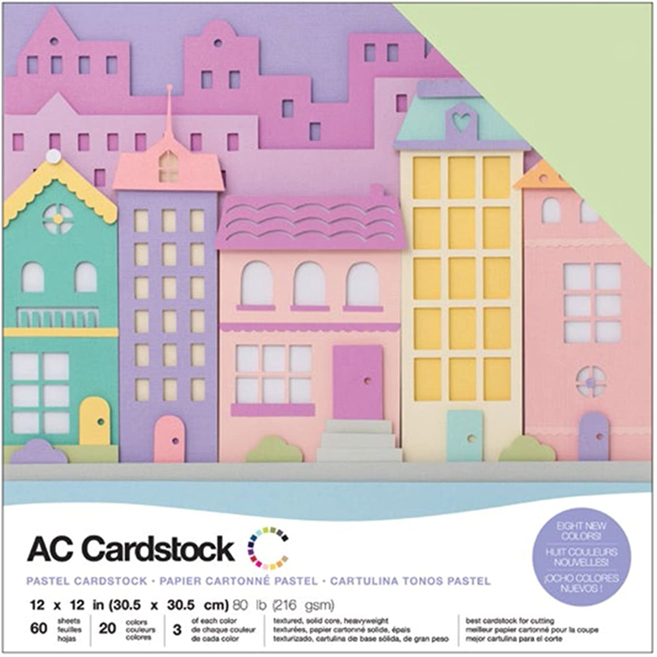 American Crafts Variety Pack Pastels 60 Sheets of 12 x 12 Inch Cardstock