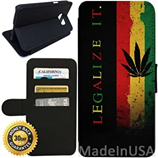 Flip Wallet Case for Galaxy S7 (Legalize It Rasta Ganja Weed) with Adjustable Stand and 3 Card Holders | Shock Protection | Lightweight | Includes Stylus Pen by Innosub