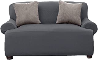 Le Benton LoveSeat Cover, Stretchable, Beautiful Look, Great Protector, Slipcover, Grey