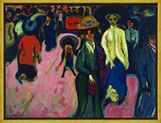Berkin Arts Framed Ernst Ludwig Kirchner Giclee Canvas Print Paintings Poster Reproduction(Street Dresden)
