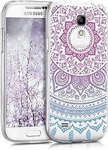 kwmobile Funda Compatible con Samsung Galaxy S4 Mini - Carcasa de TPU y Sol hindú en Azul/Rosa Fucsia/Transparente