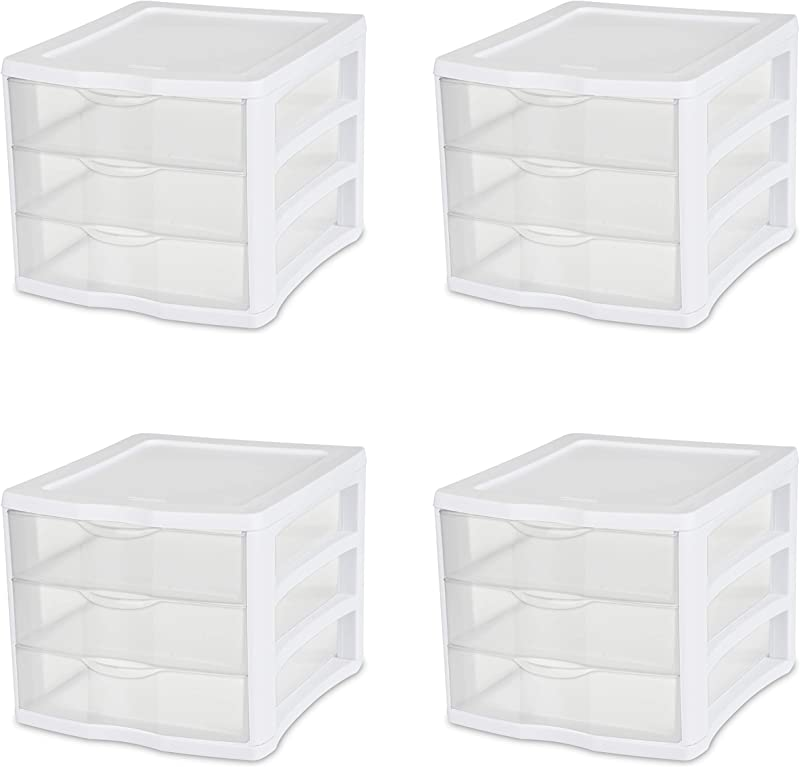 Sterilite 17918004 3 Drawer Unit White Frame With Clear Drawers 4 Pack